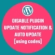 How to disable or hide plugin update notification& auto update plugins
