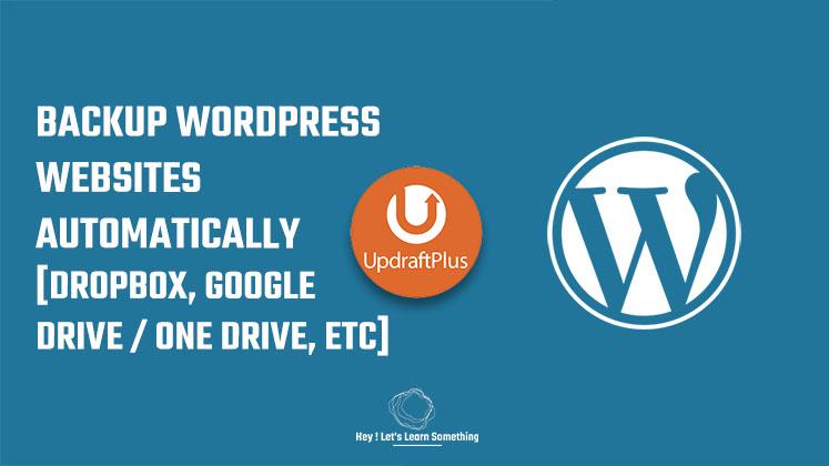 How to backup WordPress website - updraftPlus