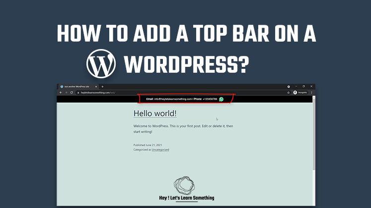 how to add top bar on a WordPress website