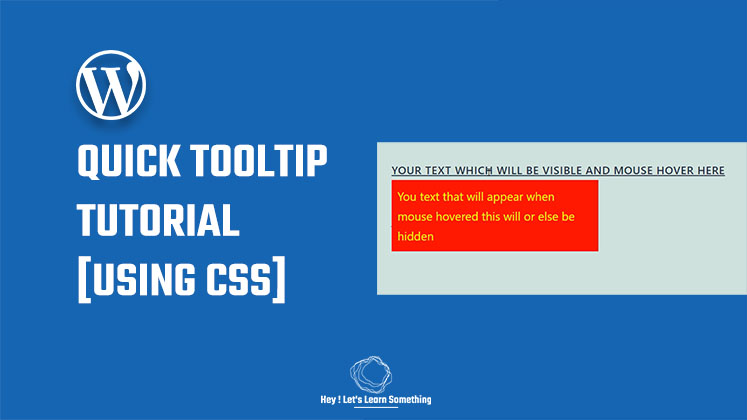 A quick tooltip tutorial using CSS