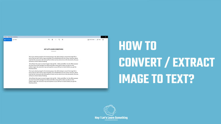 Convert or extract images to text